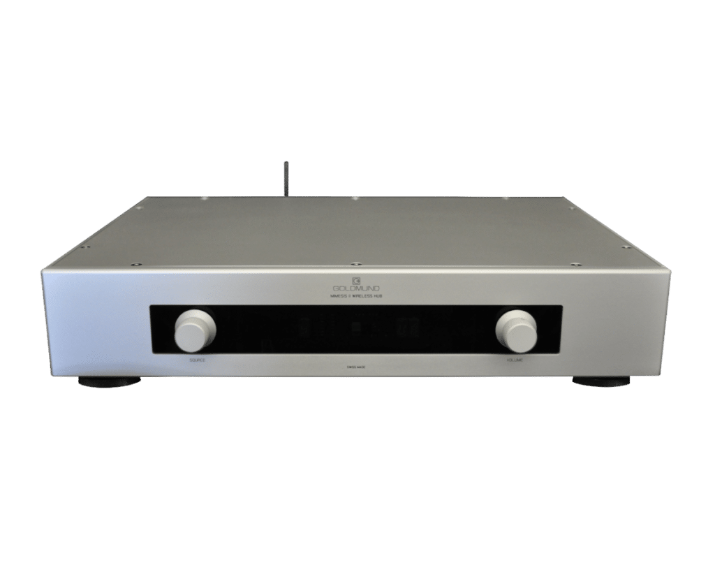 Mimesis 11 wireless Hub to connect all sources and reproduce sound in stereo and mono.